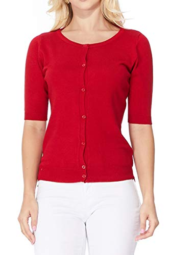 YEMAK Women's Short Sleeve Crewneck Button Down Casual Soft Cardigan Sweater MK3467-RED-M