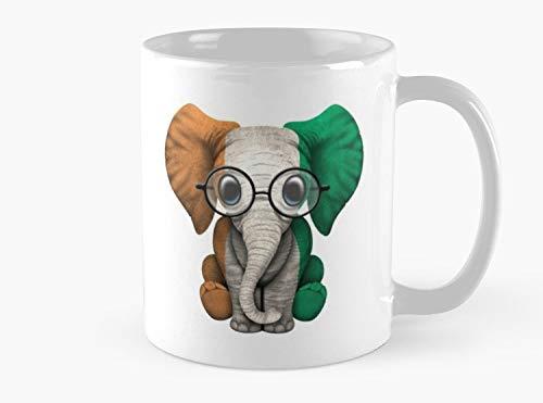 Baby Elephant with Glasses and Ivory Coast Flag Mug, Standard Mug Mug Coffee Mug Tea Mug - 11 oz Premium Quality printed coffee mug - Unique Gifting ideas for Friend/coworker/loved ones