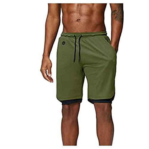 BUKINIE Athletic Workout Shorts für Herren, 2-in-1 Stealth Quick Dry Mesh Gym Training Running Shorts mit Taschen, grün, L