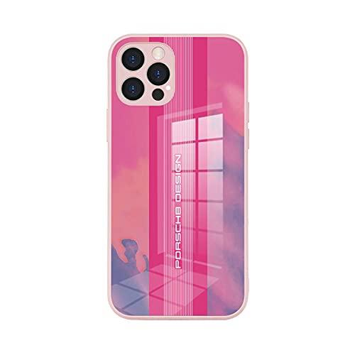 Para el iPhone 12 caso de vidrio templado Apple 12pro max personalizado esmerilado teléfono caso-Porsche-rosa_iPhone 12 Pro