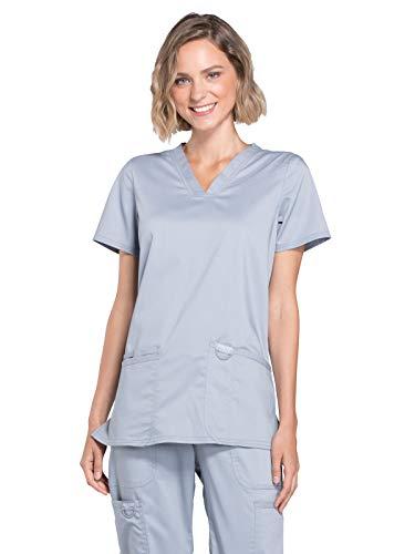Workwear Revolution Women Scrubs Top V-Neck WW620, XS, Grey