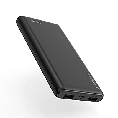 TECKNET Power Bank 10000mAh, Ultra Slim Port Portable Charger Dual Output External Battery Pack Compatible with iPhone, iPad, Mac, Samsung, Smartrtphone and More