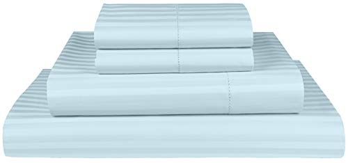 Threadmill Home Linen 600 Thread Count King Sheet Sets - 1CM Damask Stripe 100% ELS Cotton Sheets for King Size Bed, Luxury Hemstitch 4 Piece Set with Elasticized Deep Pocket, Smooth Sateen, Blue
