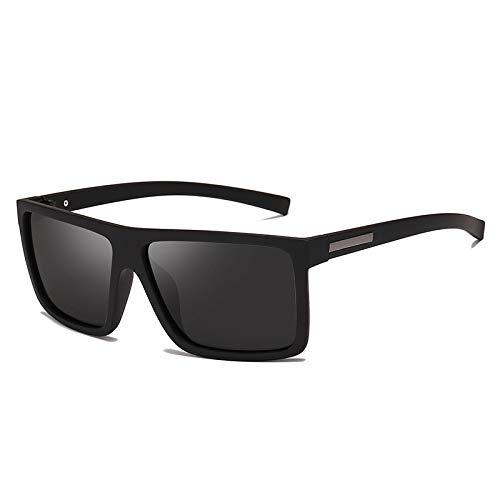 NJJX Gafas De Sol Para Hombre Gafas De Sol Polarizadas Con Parte Superior Plana Gafas De Sol Para Conducir Gafas De Sol Para Hombre Estilo Rectangular Negro Arena