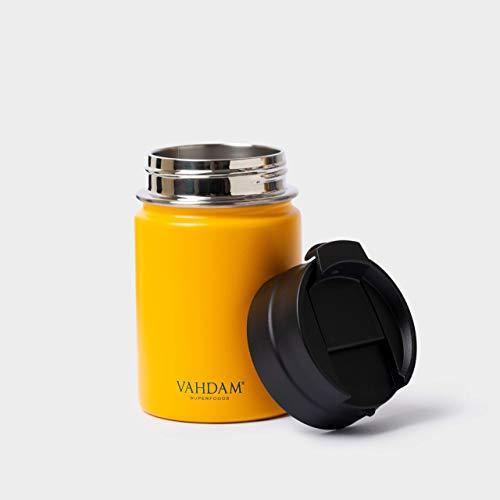 VAHDAM Vitality Botella termica de Acero Inoxidable (260ml) | Vasos Termicos Amarilla | Termo a Prueba de Fugas, para Bebidas Calientes/Frías | Botella ECOLÓGICA Y Reutilizable | Taza termica