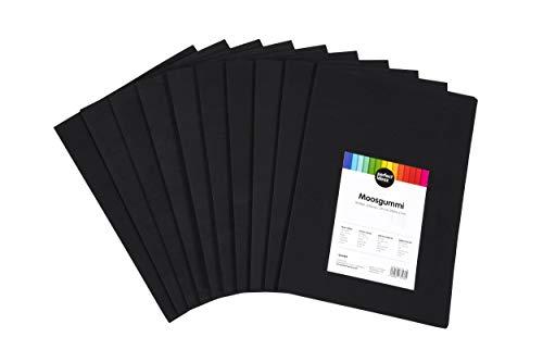 perfect ideaz 30 Blatt DIN-A4 Moos-Gummi schwarz, Schaumstoff-Platten in schwarzer Farbe, 1,7 mm Dicke, schwarzes Schaum-Gummi, Foam-Set zum Basteln, DIY-Bedarf, Moosgummi-Matte für Kinder