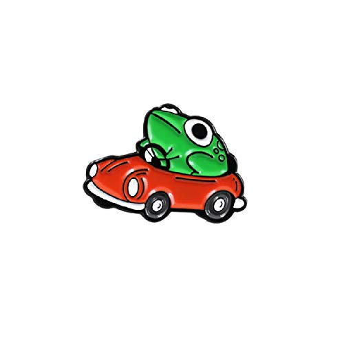 wangk Caricatura Verde Rana Abierta Rojo Coche Broche Pin Creativo Moda niños Bolsa de Dibujos Animados Mochila Insignia joyería