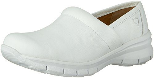 Nurse Mates Women's Libby Slip On,White Full Grain Leather,US 7.5 M