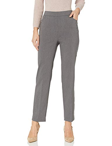 Alfred Dunner Women's Allure Slimming Missy Stretch Pants-Modern Fit, Grey, 8