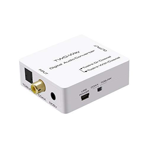 lizeyu Convertidor de Fibra coaxial a Fibra a Audio coaxial Audio analógico TV PS4 Conectado a Amplificador de Audio
