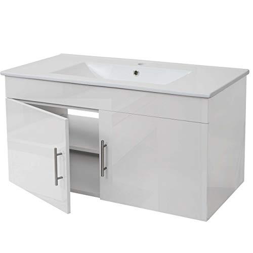 Mendler Waschbecken + Unterschrank HWC-D16, Waschbecken Waschtisch, Hochglanz 90cm ~ weiß