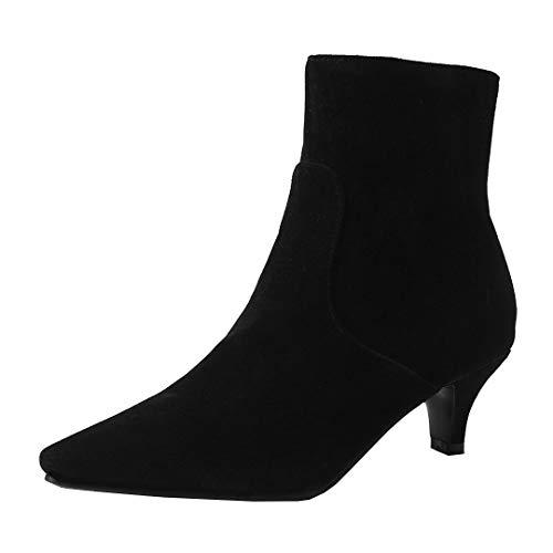 Dearney Damen Kleiner Absatz Stiefeletten mit Spitz Ankle Boots Kitten Heels Stiletto Klassische Knöchelstiefel Damenschuhe