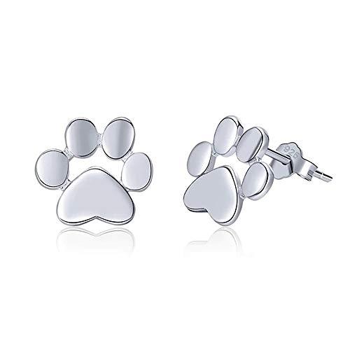Pendientes Huellas en Plata de Ley 925 de perro y gato para regalos a niñas y mujeres originales y...