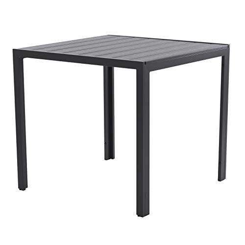 Raburg Gartentisch HARVEY XL in SCHIEFER-DUNKEL-GRAU - 80x80 cm, Alu & Polywood, Premium Tisch, sehr stabil & leicht, wetterfest & UV-beständig, fester Stand, Tragfähigkeit 100 kg, bis 4 Personen