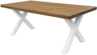 COMIFORT Mesa de Comedor - Mueble para Salon Oficina Despacho Robusto y Moderno de Roble Macizo Color Ahumado Patas de Ac...