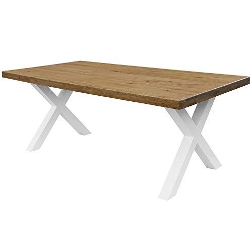 COMIFORT Mesa de Comedor - Mueble para Salon Oficina Despacho Robusto y Moderno de Roble Macizo Color Ahumado, Patas de Acero X-Forma Blancas (220x100 cm)