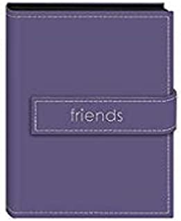 """Pioneer Photo Albums EXP-46/LF Pioneer Embroidered Magnetic Strap Sewn Leatherette Cover Mini Photo Album,""""friends"""" Lavender"""