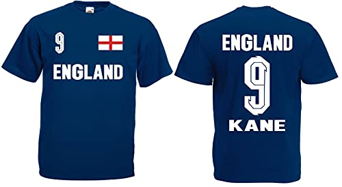 England Kane Herren T-Shirt Britain EM 2020 Trikot Look Shirt Dunkelblau XL