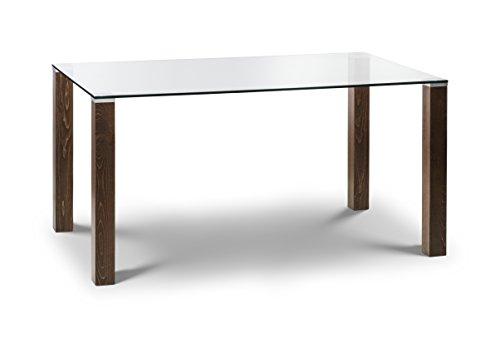 Julian Bowen Cayman Dining Table, Walnut & Glass