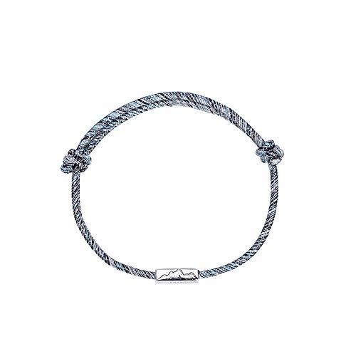 DIKOPRO Couple Bracelet, Couple Magnetic Bracelet Set Mutual Attraction Rope Braided Charm Pendants Bracelet Couple Gift Jewelry Set for Women Men(Basic Mountain 925 Silver)