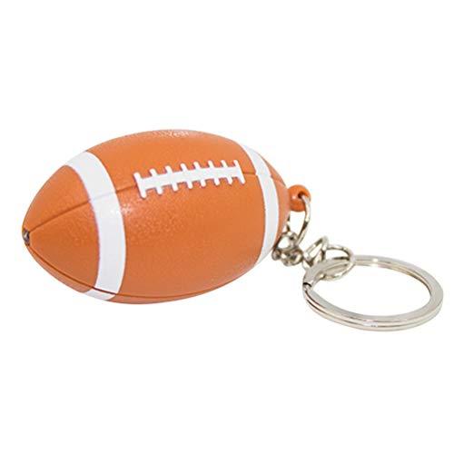 BESTOYARD Rugby Fußball LED Schlüsselanhänger Metall Taschenanhänger mit Licht Schlüsselbund mit Ring für Auto Schlüssel Kinder Damen Herren (Orange)