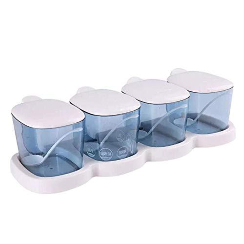 ZYL-IL Plástico condimento Tarro de Especias Conjunto rectángulo de la Salida del Estante Cuchara Cocina de la Sal Latas