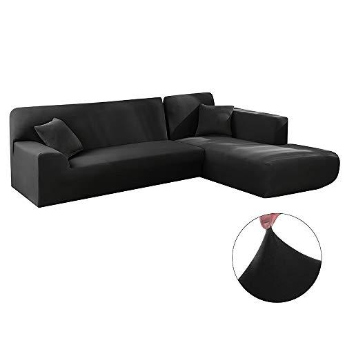 Iraza 2 Piezas Funda de Sofa Elástica Chaise Longue Brazo Largo Modelo Tunez Desde 190 a 300 cm (Negro, 230_x_300_cm)