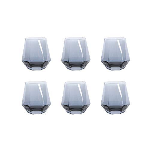 FFFLY Copa Vino, Copas Vino Cristal, Copa De Vino Tinto Personalizada, De 300 Ml, Juego De 6, Splendour Collection Uso En Casa, Restaurante Y En Fiestas (Color : Smoky Grey-1)