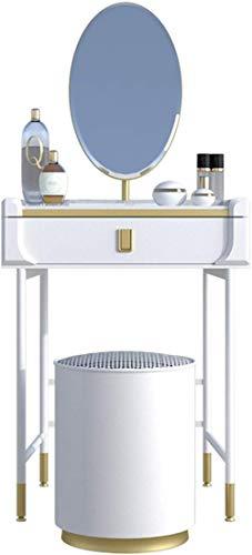 CDFCB Mesa de Maquillaje con Espejo Ovalado y Taburete de tocador de Madera con cajones Grandes Estilo de tocador de vanidad de Estilo Moderno para Damas Regalo-Blanco