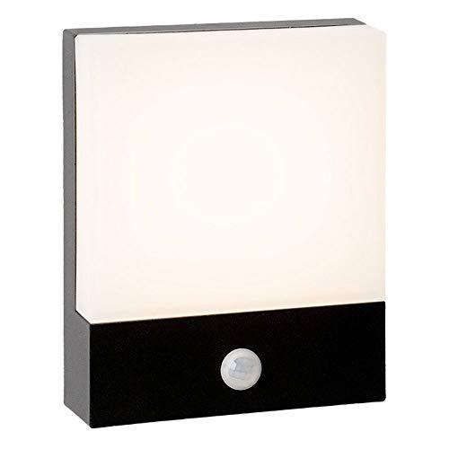 RXM LED-wandlampen met bewegingssensor, buitenverlichting, tuin, behuizing van aluminium, waterdicht, PC-lampenkap, menselijk lichaam, gang, inductie balkon