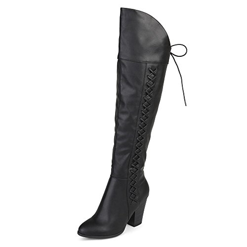 Brinley Co. Womens Faux Leather Faux Lace-up Over-The-Knee Boots Black, 12 Wide Calf