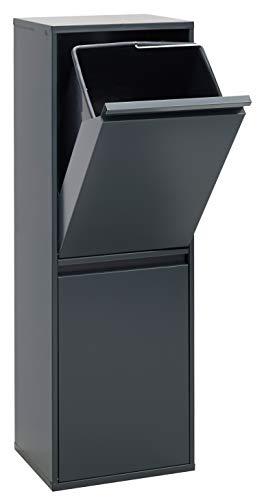 ARREGUI CR204-B Basic Stahl, Mülltrennsystem mit 2 Inneneimer, Mülleimer für die Küche, Abfallbehälter mit separater Recycling-Einheit 34 L, Legierter, Anthrazit, 90,5 x 30,5 x 24,5 cm