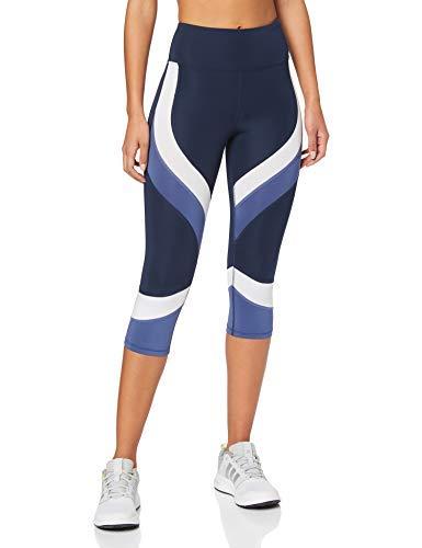 Marca Amazon - AURIQUE Mallas de Deporte Combinadas Cortas Mujer, Azul (Dress Blue/ White/ Gray Blue), 38, Label:S