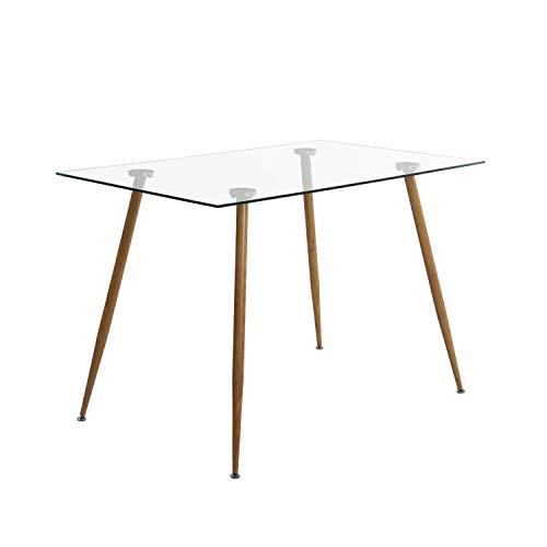 IPOTIUS Mesa de comedor rectangular de cristal moderna mesa de cocina para sala de estar, oficina, hogar, patas de metal 110 x 70 x 75 cm