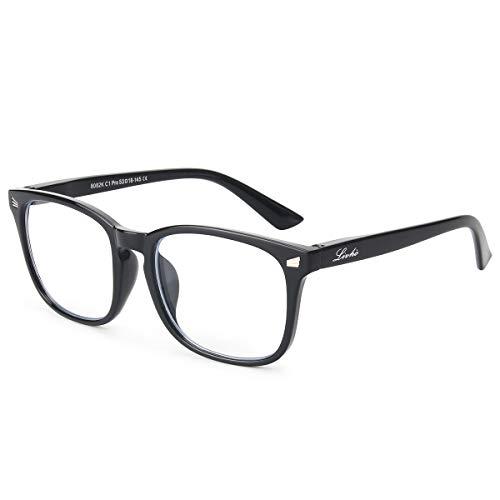 Livhò Blue Light Blocking Computer Glasses,Tablet/Gaming/TV/Phones Glasses for Women Men,Anti Eyestrain Filter UV Glare & Reduce Headache Eyewear Fake Glasses LI8056 (Spring Hinge Light Black)