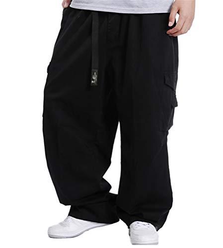 ORANDESIGNE Jeans Pantaloni Vintage da Uomo Hip Hop Baggy Denim Street Pantaloni da Danza Straight Fit Teenage Boys E Nero XXL