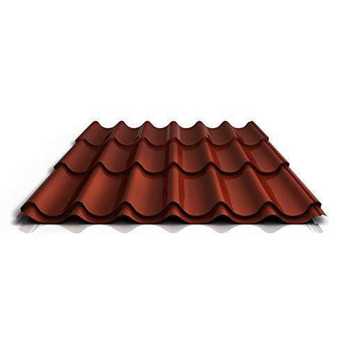 Pfannenblech | Ziegelblech | Dachziegelblech | Profil PA47/1060RT | Material Aluminium | Stärke 0,70 mm | Beschichtung 25 µm | Farbe Rotbraun