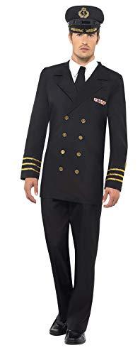 Smiffys, Herren Marineoffizier Kostüm, Jacke, Hose, Mock Hemd und Mütze, Größe: L, 38818