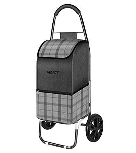 VIOFOTT Einkaufstrolley, Einkaufsroller,Klappbarer Einkaufswagen, Einkaufswagen 2 räder mit Abnehmbarer Polyester-Tasche(40kg,49L) grau.