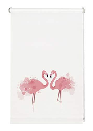 GARDINIA Rollo Digiprint Flamingo zum Klemmen, Tageslicht-Rollo mit Digitaldruck, Blickdicht, Alle Montage-Teile inklusive, Weiß/Dekor, 70 x 150 cm (BxH)