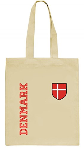 Dänemark Danmark Fußball WM Fanshirt Gruppen natur Jutebeutel Stoffbeutel Tote Bag Fan Trikot Denmark, Größe: onesize,natur