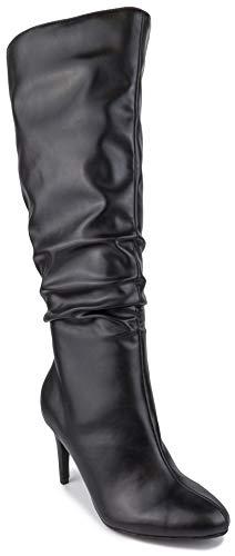 Sugar Damen Stealth Kleid Stiefel mit spitzem Absatz und Rüschen., Schwarz (schwarz), 40.5 EU