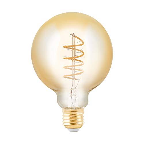EGLO Bombilla LED E27 regulable, bombilla vintage ámbar, espiral LED Globe 4 W (equivalente a 24 W), 245 lúmenes, E27 LED blanco cálido, 2200 K, bombilla LED G95, diámetro 9,5 cm LM_LED_E27