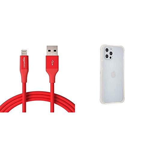 Amazon Basics - Cable de conector Lightning a USB A para iPhone y iPad - 1,8 m - 1 unidad, Rojo + Amazon Basics – Funda para iPhone 12 Pro Max con protección antigérmenes, blanco puro