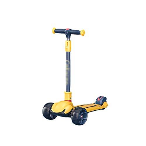 Patinete Scooter para Niños Scooter Plegable de Altura Ajustable para Niños de 2 A 12 Años de Antigüedad para Dirigir (Color : Yellow)