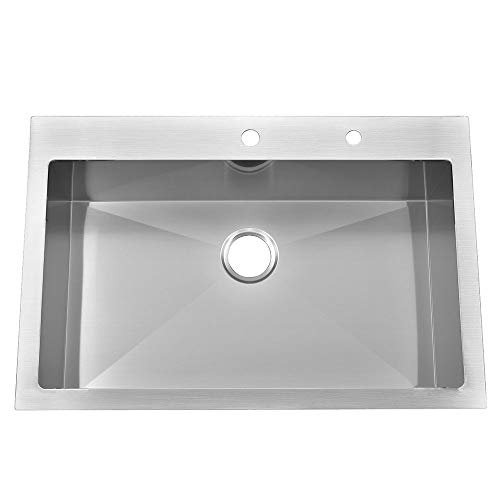 KINGO HOME Commercial 33'x 22' Inch 10 Inch Extra Deep Handmade Top Mount T304 Stainless Steel Drop-In Single Bowl Kitchen Sink