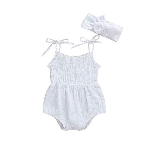 MAHUAOYIXI Sommer Baby Mädchen Baby Bodysuit Bandage solide Farbe Baumwolle Leinen Set ärmellose Bodysuit + Stirnband neugeborenes Baby Kleidung Zwei Stück Set 0-18M -Weiß-9-12 months