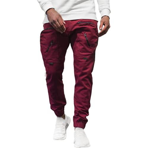 Corumly Pantalones de Jogging para Hombre Pantalones Deportivos Informales Multibolsillos con Cremallera de Personalidad de Moda Pantalones de Tobillo Ajustables para Correr XL