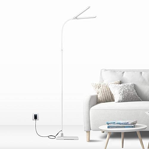 LED Tageslicht Stehlampe Leselampe Dimmbar Weiß für Wohnzimmer Schlafzimmer Büro 2X 5W Zwei LED Leuchtenkopf 1000Lm Helligkeit Maximal Höhe 1,5 Meter 1er Lampe von Enuotek