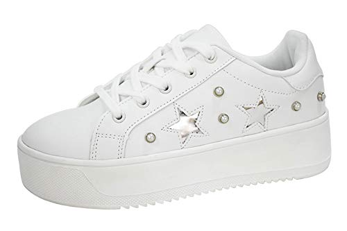 LUCKY-STEP Fashion Platform Women Sneakers - Air Force Faux Suede Stars Holographic Rainbow Walking Shoes with Round Toe (White,8.5 B(M) US)